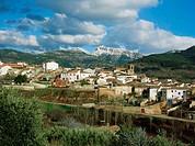 Bienservida village and Pico de la Sarga mountain. Alcaraz mountain range. Albacete province. Spain