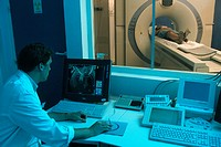 HELICAL CT SCANNER<BR>Photo essay from hospital.<BR>University regional medical center at Lille, in the  Nord-Pas-de-Calais region of France. 3D Helic...