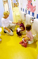 Children sitting on toilet