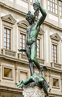 Perseus, bronze sculpture by Benvenuto Cellini (1545-54) by Uffizi Gallery. Florence. Tuscany, Italy