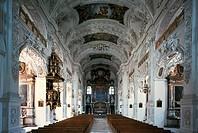 SG Architektur, Kirchen und Klöster, BRD, Bayern, Kloster Benediktbeuern, innen, Basilika St. Benedikt,  Deckenbilder von Gg. Asam, Stuck in spätbaroc...