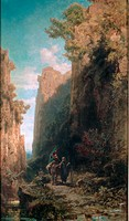 fine arts, Spitzweg, Carl 1808 _ 1885, painting, Escape to Egypt, Kurpfälzisches Museum, Heidelberg, Germany, Karl, Biedermeier era, biblical, Mary, J...