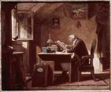 Ü Kunst _ Spitzweg, Carl 1808 _ 1885: Gemälde Der Besuch, Karl, Biedermeier, Mann an Tisch sitzend, Buch lesend, Vogel im Fenster sitzend, zuschauend,...