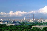 Geo., Russland, Moskau, Stadtansichten, Panoramablick auf die Stadt von den Leninbergen (Spatzenhügel) aus,  Panorama, Blick,