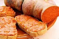 Sobrasada sausage. Typical from Majorca. Balearic Islands. Spain
