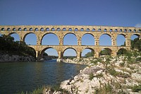 antiquity, aqueduct, bridge, France, Europe, Languedoc Roussillon, Nimes, Pont du Gard, river, Roman