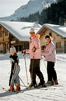Family on skiing vacation