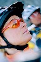 Profile of female cyclist