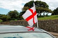 English flag on automobile