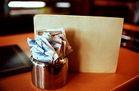 Sugar sachets in restaurant
