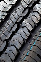 Extreme close up of tire tread