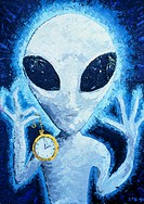 Space alien. Composite oil painting representing an alien extraterrestrial (ET). This painting was made by combining common features in drawings  whic...