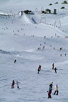 skiers at plan maison, breuil cervinia, italy