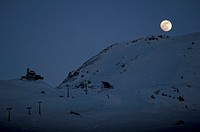 moon over mountain, sestriere, italy