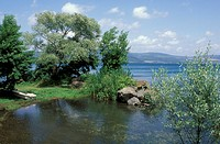 partial view of lake, bracciano lake, italy