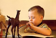 A Down Syndrome child reads a book. People with this syndrome have 47 chromosomes in their cells rather than the usual 46. The extra chromosome is num...