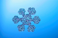 A snowflake or a snow crystal. This snow crystal is of a plate with simple extensions. Snowflakes show typical hexagonal symmetry (as seen here) if th...