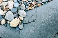 Stones on a rock in a rocky coast. Côte de Granit Rose. Britanny. France.