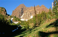 Sunrise colours on the face of Three Fingered Jack at Canyon Creek Meadows. Mount Jefferson Wilderness, Deschutes National Forest. Cascade Mountains. ...
