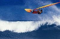 Hawaii, Pete Cabrina jumps wave, windsurfing contest