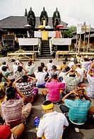 The great odalan (festival) of Singapadu temple. Bali island. Indonesia