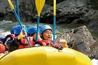 Japanese family group Rafting on the Ocoee River in southern Tenneessee, site of the 96 Olympic Games. USA
