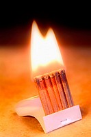 Close-up of book of matches burning