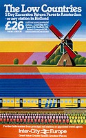 Inter-City Europe, The Low Countries´, BR poster, 1982. Poster produced for British Rail (BR) for the European Rail Traffic Office. Illustrated with D...