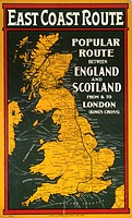 Poster produced for Great Northern Railway (GNR), North Eastern Railway (NER) and North British Railway (NBR) to promote rail travel on the east coast...