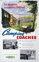 Poster produced for British Railway (BR) to promote camping coaches as inexpensive holiday accommodation. A family are shown beside a coach parked in ...