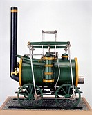 Locomotive by Robert Stephenson and Co, c 1828. Model (scale 1:12). This may have been the model sent by Stephenson to Edinburgh in 1828, representing...