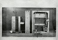 Section through the camera and the back of the electro- shutter used by Muybridge in his experiments. Eadweard Muybridge (1830-1904) was the first pho...
