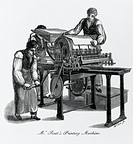 Engraving of William Rutt´s printing machine from Hansard´s ´Typographia´, a work on the history of printing. The man on the left is hand-cranking the...