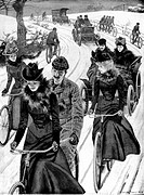 Cycling, 1899. Plate taken from Illustrated London News (Vol 99/2, p CN11) showing men and women cycling in front of couples in motor cars. The lyrics...