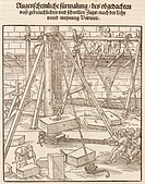 Woodcut by Peter Flotner from ´Vitruvius Teutsch´, the first German translation of 'De architectura' (Of architecture) by the Roman architect and engi...