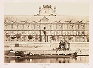 A photograph of the Louvre on the bank of the River Seine, Paris, taken by Edouard-Denis Baldus (1813-1882) in about 1865. Previously a palace but est...