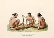 Engraved plate 51 from ´Voyage autour du monde´ ('Voyage round the world') by Louis Isidore Duperrey (1826), showing three tattooed men from the islan...