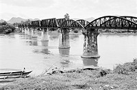 Bridge over the River Kwai, near Kanchanaburi, Thailand, by Patrick Ransome-Wallis, about 1955.   This bridge is on the Bangkok to Rangoon Railway. Th...