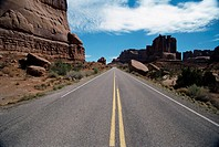 Highway through rock formations, Arches National Park, Utah, USA (thumbnail)