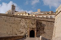 Portal de ses Taules, Renaissance walls town gate with cathedral in background. Ibiza, Balearic Islands. Spain