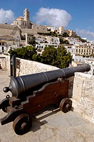 Old cannons in Dalt Vila district, old town of Ibiza. Ibiza, Balearic Islands. Spain