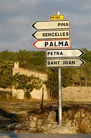 Traffic signs for Pina, Sencelles, Palma, Petra and Sant Joan. Majorca. Balearic Islands. Spain