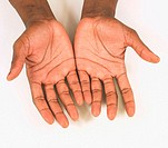 Black man's hands with palms up