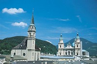 St. Peter´s Cathedral and Salzburg Cathedral. Salzburg, Austria