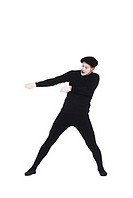 Mime pulling on invisible rope