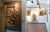 Nativity polychrome wood carving dating 17th century in sacred art museum. Yanguas. Soria province, Spain