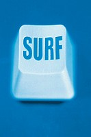Close up of keyboard key, noting the word ´surf´