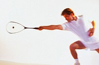 Man playing racquetball