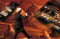 Collage of businessman walking, keyboard, cell phone, clock and a map of the world