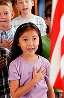 Students reciting pledge of allegiance